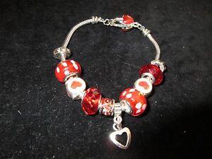 Silver Tone Red White Rhinestone Crystal Charm Bracelet Heart Fashion Statement