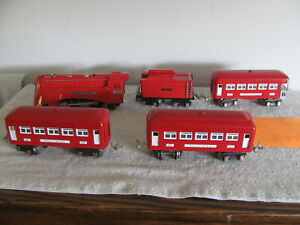 Lionel Train Set Commodore Vanderbilt 264E The Red Comet with 3 cars REFINISHED
