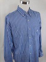 CHAPS Blue & White Striped Long Sleeve Button Down Mens Dress Shirt Size XL