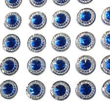 40 SELF ADHESIVE ROUND SHAPED BLUE RESIN DIAMANTE RHINESTONES GEMS 12 MM
