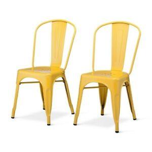 Carlisle High Back Dining Chair - Set of 2, Yellow