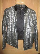 ELLA MOSS Size S NWT $228 SHEENA Sequin LEATHER COLLAR SILVER blazer Jacket