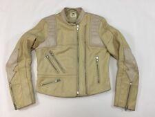 H&M Studio Women's Beige Genuine Leather Moto Jacket Size 6 (Small) Motorcycle