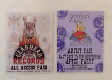 LOT of 2 Gearhead Party All Access Artist Passes Lady Luck Tattoo Convention