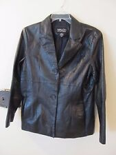 New York & Company Leather Jacket Women's Large Black Button - EXCELLENT