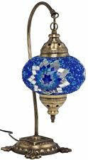 MOSAIC TABLE LAMP, STAINED GLASS SHADE, TURKISH MOROCCAN LIGHT, GLASS SWAN NECK