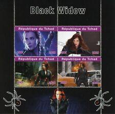 Chad Superheroes Stamps 2020 CTO Black Widow Marvel Scarlett Johansson 4v M/S
