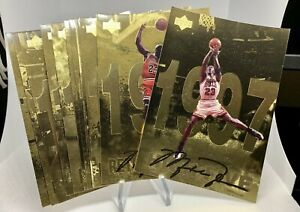 1998 UPPER DECK MICHAEL JORDAN GATORADE NBA DREAMS PROMO GOLD FOIL JUMBO