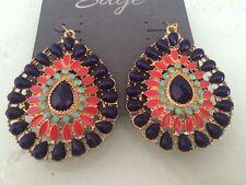 Bohemian Multi-color Bead Teardrop Dangle Drop Earrings SPARKLING SAGE