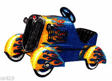 "2.5"" Antique car vehicle tractor blue flame fabric applique iron on character"