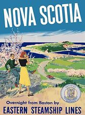 Nova Scotia Eastern Steamship Lines Canada Canadian Travel Advertisement Poster
