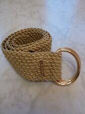 "Ralph Lauren Double D-Ring Woven Nylon Belt Gold Medium 43"""