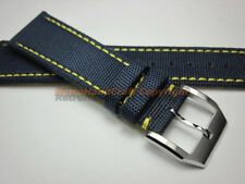 20 21 22mm Handmade Blue Complex Fabric Leather Watch Strap Band Sport Wristband