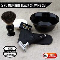 Vintage Style Gift set wet Badger hairShaving Brush,DE Safety Razor,Bowl For Men