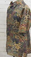 TORI RICHARD Print Hawaiian Camp Shirt Short Sleeve Button Down Large Cotton