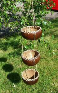 Recycled coconut shell hanging fairtrade planters