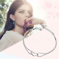 le donne lady placcati in argento cuore braccialetto gioielli bracciale catena