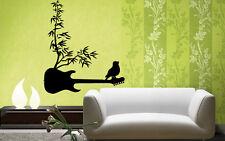 Guitar And Bird Music Floral  Positive Mural  Wall Art Decor Vinyl Sticker z652