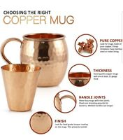 Mule Science Moscow Mule Copper Mugs Set of 4 100% HANDCRAFTED Pure Solid 16 oz