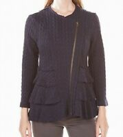 John Mark Women's Jacket Navy Blue Size Small S Tiered Textured Knit $119 #196