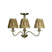 Premier Housewares Ceiling Light, Metal 3 Arm, Gold Fabric Shades, Chandelier
