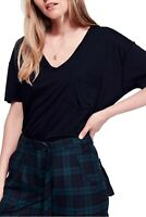 The Free People Ronnie Tee Oversized V Neck T Shirt Black Tunic Size S New NWT