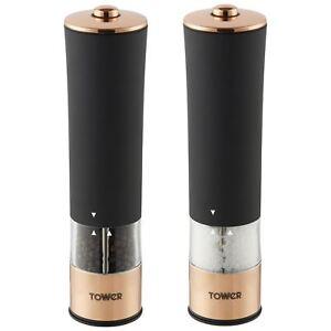 Tower Electric Salt & Pepper Mills Battery Grinders Set with LED Black/Rose Gold