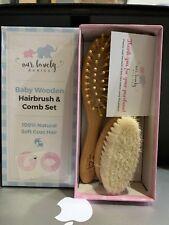 Baby Hair Brush & Detangler Comb Set | Natural Soft Goat Hair Bristles | For .