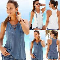 Womens Summer Boho Lace Up Vest Tank Tops Blouse Casual Beach Sleeveless T-shirt