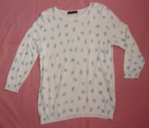 M&S COLLECTION Thin-Knit White Jumper with Blue Fan Pattern - UK 14