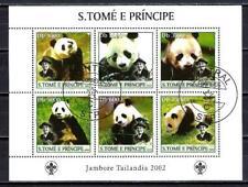 Animaux Pandas St Thomas et Prince (267) série 6 timbres oblitérés feuillet