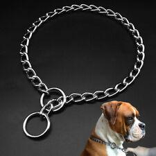 P Choke Pet Dog Collar Chrome Stainless Steel Show Collar for Medium Large Dogs