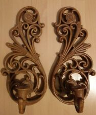 Homco Home Interiors Faux Wicker Rattan Wall Sconces Set of 2 Candle Holder 3317
