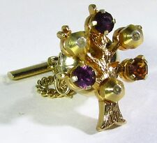 Gold Plated Tie Tack with Anson Family Tree and Red Orange and Purple Stone