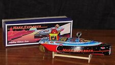 Schylling Mars Explorer Tin Speed Boat wind-up Toy with Stand Complete NOS