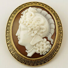 Antique Victorian Shell Cameo Goddess Athena Etruscan Revival Gold Brooch