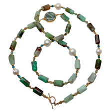 """NaturalSeraphinite rough Green Chrysoprase White Pearl  Long Necklace 29"""""""
