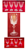 VINTAGE Wine Glasses 6 oz. Crystal Vertical Cuts Hexagon Ball Stem 4-Piece Set