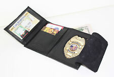 Black Leather Sheriff Fire Security Shield Badge Wallet ID Credit Card Holder