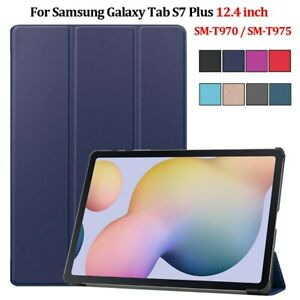 For Galaxy Tab S7 Plus Case SM T970 T975 T976 Leather Stand Tablet Shell Funda
