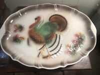 "VTG 1958 Lane & Co. California USA Thanksgiving Turkey Platter T-12  15"" x 20"""