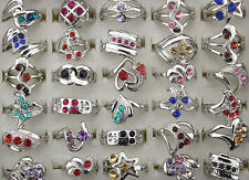 Mix Lots 8pcs Crystal Rhinestone Colorful Silver P Lady'sRings Fashion Jewelry