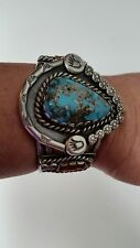 Vintage Turquoise & Silver Cuff Bracelet-Stunning!
