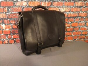VINTAGE black leather EDDIE BAUER briefcase - MEN'S / UNISEX - AWESOME !!!!!