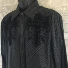 Xtreme Couture Mens Gray Striped Felt Cross Graphic Button Front Shirt XL