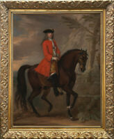 Old Master Art Portrait Man Aga Gentleman on Horse Oil Painting Unframed 30x40in
