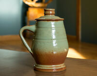 Studio Pottery Signed Vintage Green Brown Sage Stein Mug Vase Pot Ceramics