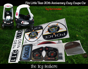 Police Car Replacement Decal Stickers fits 30th Little Tikes Cozy Coupe Patrol