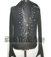 M198 hot sale Men Latin dance shirt black crystals Button-Down S size new