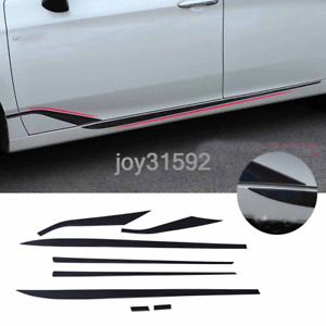 ABS Carbon Look Side Skirt Body Guard Molding Trim Cover For Toyota Avalon 2019+